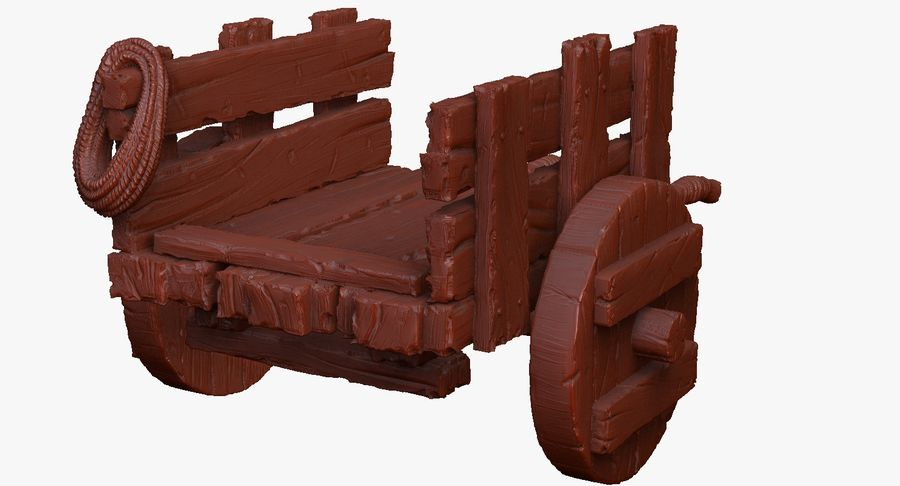 Wooden Cart Zbrush Sculpt royalty-free 3d model - Preview no. 37