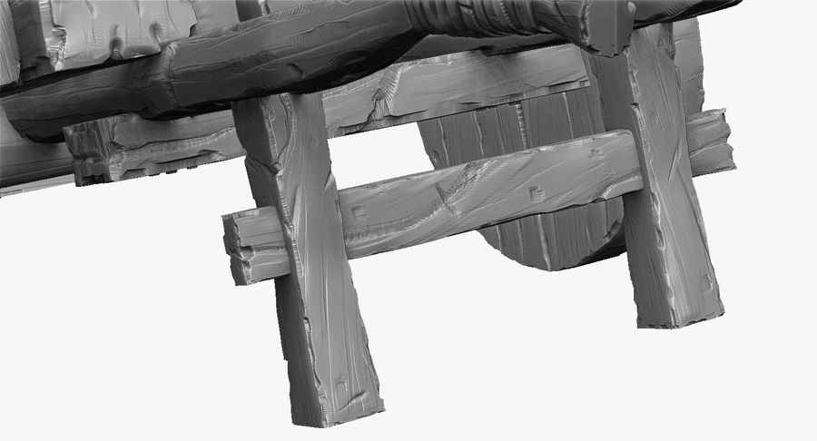 Wooden Cart Zbrush Sculpt royalty-free 3d model - Preview no. 17