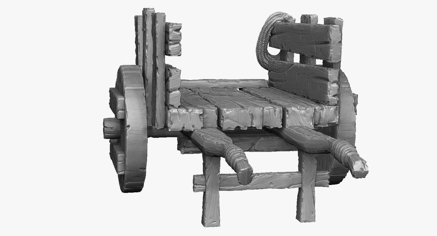 Wooden Cart Zbrush Sculpt royalty-free 3d model - Preview no. 5