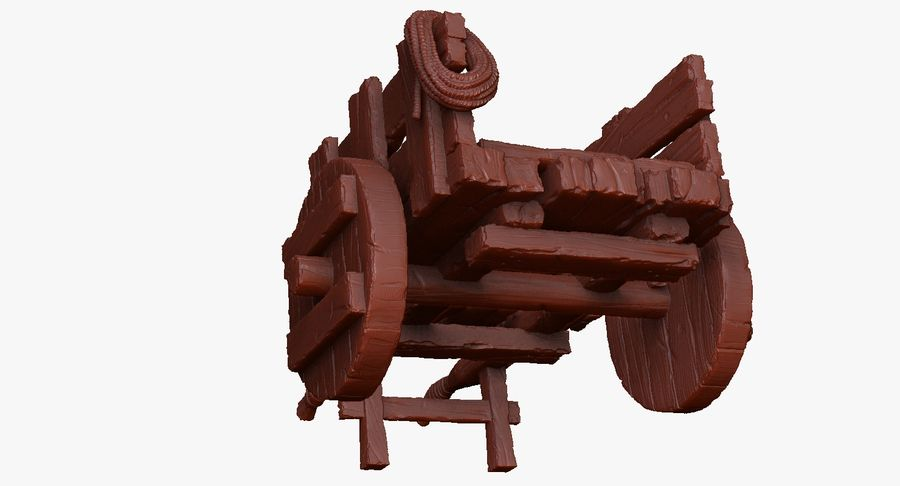 Wooden Cart Zbrush Sculpt royalty-free 3d model - Preview no. 33