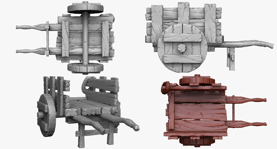 Wooden Cart Zbrush Sculpt royalty-free 3d model - Preview no. 2