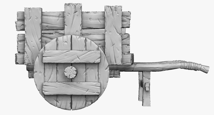 Wooden Cart Zbrush Sculpt royalty-free 3d model - Preview no. 6