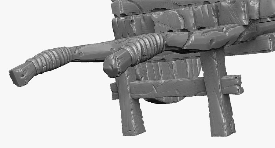 Wooden Cart Zbrush Sculpt royalty-free 3d model - Preview no. 16