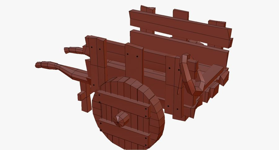 Wooden Cart Zbrush Sculpt royalty-free 3d model - Preview no. 42