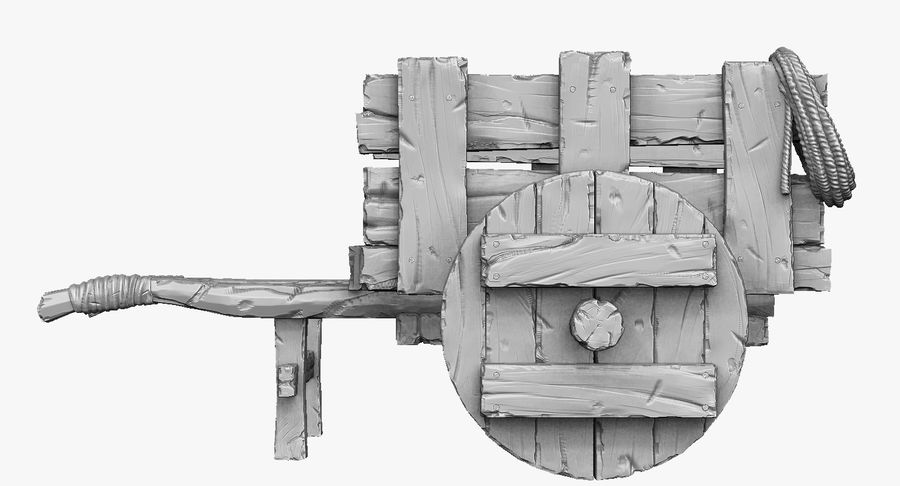 Wooden Cart Zbrush Sculpt royalty-free 3d model - Preview no. 9