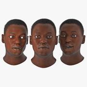 頑丈な髪を持つアフリカ系アメリカ人男性の頭 3d model