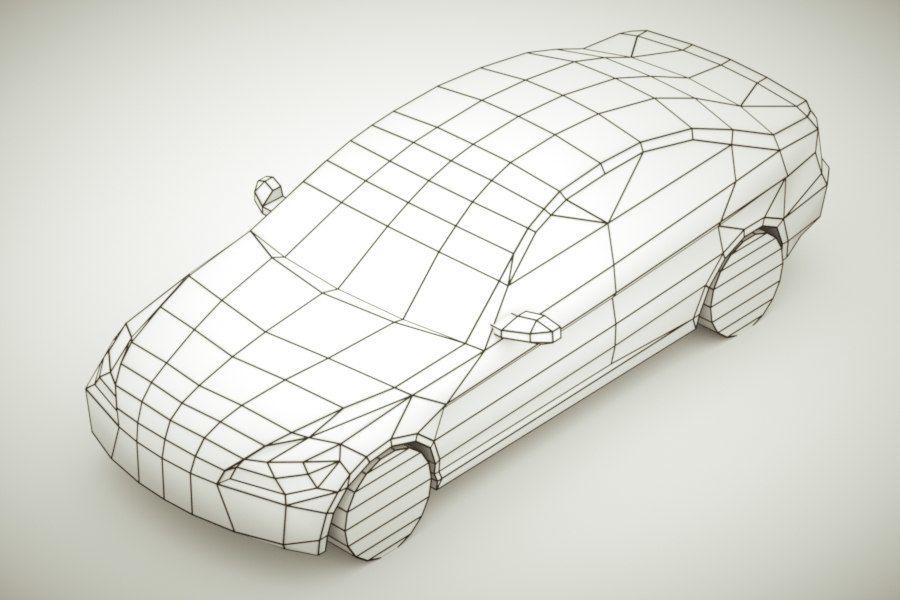 Generic Sedan v3 royalty-free 3d model - Preview no. 7