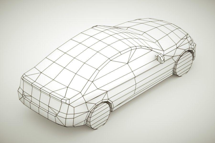 Generic Sedan v3 royalty-free 3d model - Preview no. 8