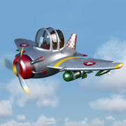 Cartoon Fighter Plane 3d model
