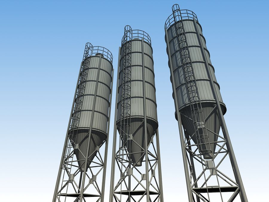silo de cimento (torre) royalty-free 3d model - Preview no. 10