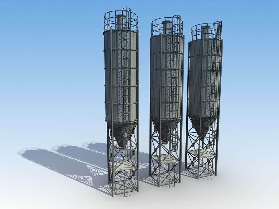 silo de cimento (torre) royalty-free 3d model - Preview no. 6