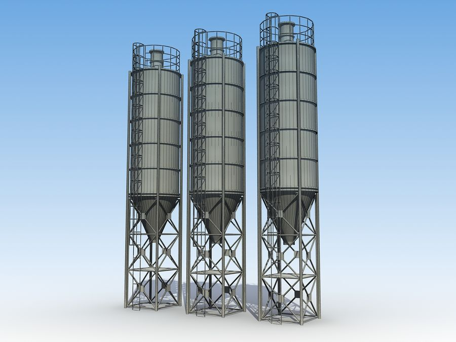 silo de cimento (torre) royalty-free 3d model - Preview no. 7