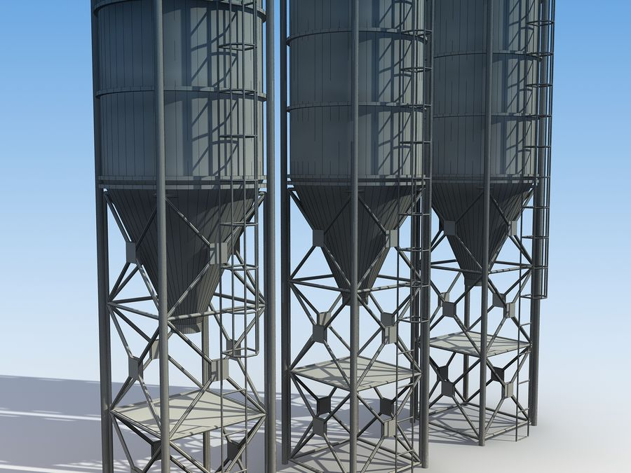 silo de cimento (torre) royalty-free 3d model - Preview no. 9