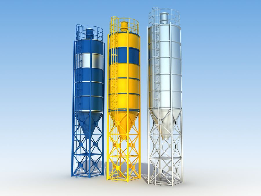 silo de cimento (torre) royalty-free 3d model - Preview no. 2