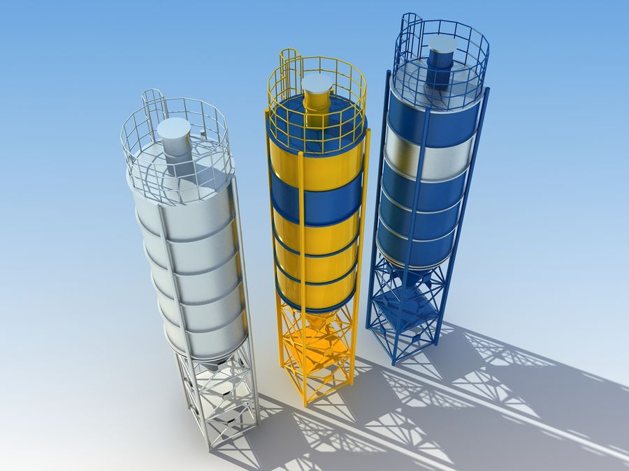 silo de cimento (torre) royalty-free 3d model - Preview no. 3
