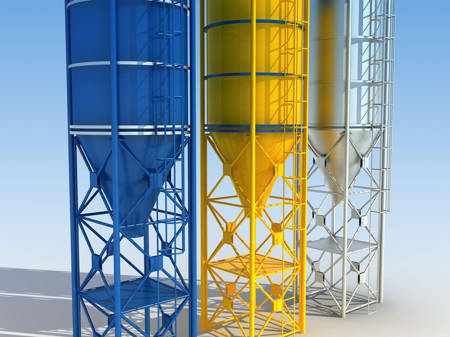 silo de cimento (torre) royalty-free 3d model - Preview no. 4
