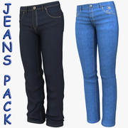 Man and Woman Jeans Pack 3d model