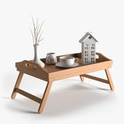 Plateau de petit déjeuner en bois 3d model
