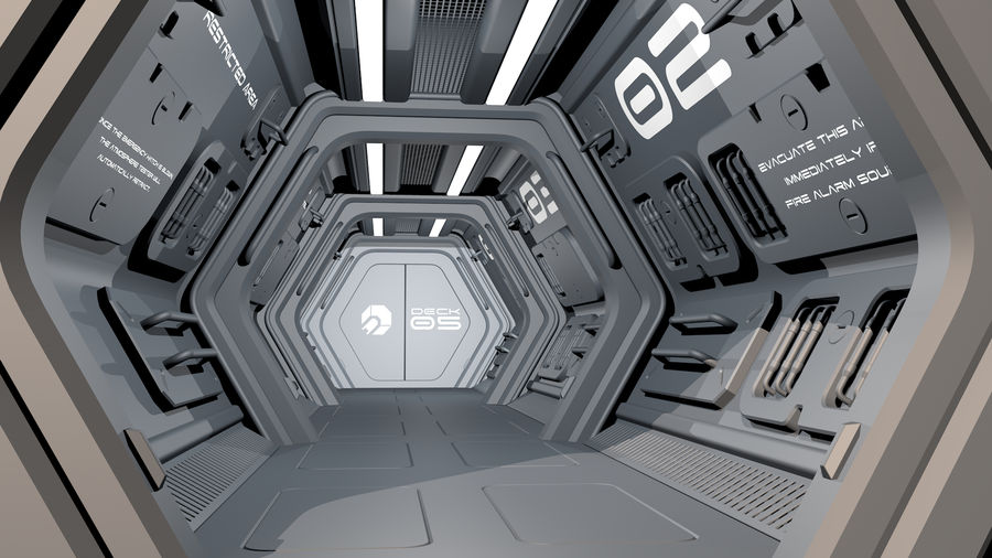 Sci-Fi Spaceship Corridor royalty-free 3d model - Preview no. 1