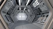 공상 과학 우주선 복도 3d model