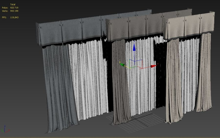 curtains royalty-free 3d model - Preview no. 14