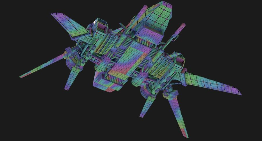 Sci Fi Fighter Spaceship royalty-free 3d model - Preview no. 16
