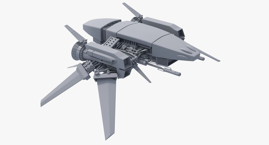 Sci Fi Fighter Spaceship royalty-free 3d model - Preview no. 11