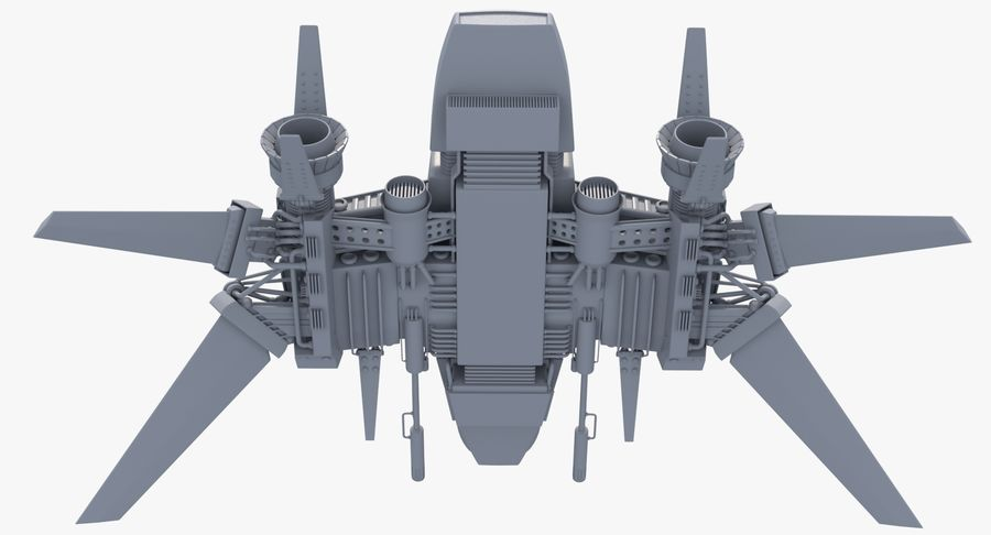 Sci Fi Fighter Spaceship royalty-free 3d model - Preview no. 5