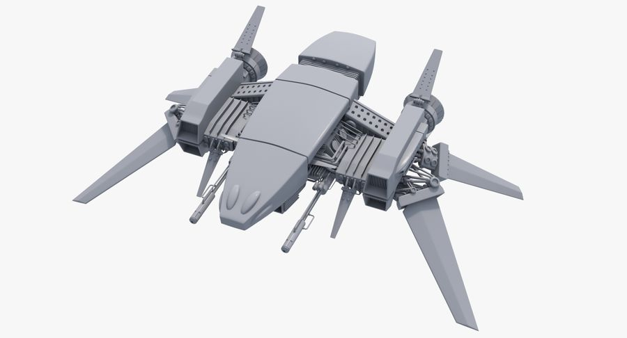 Sci Fi Fighter Spaceship royalty-free 3d model - Preview no. 2