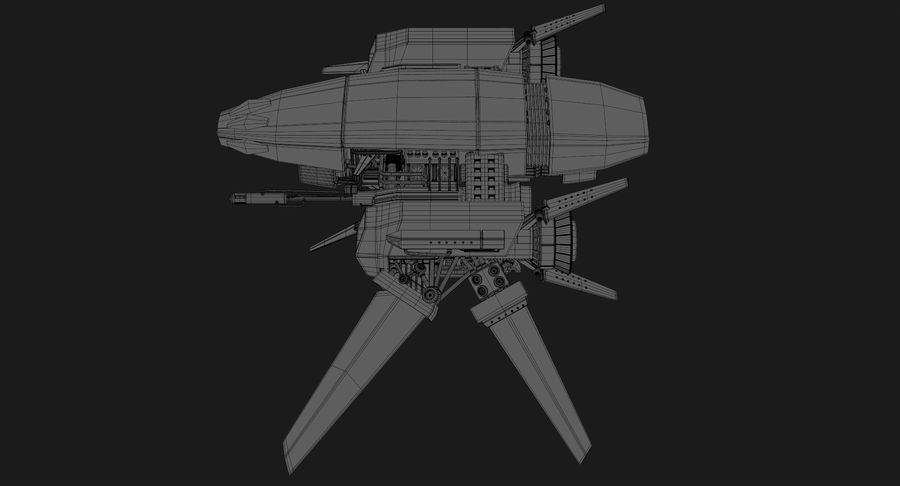 Sci Fi Fighter Spaceship royalty-free 3d model - Preview no. 18