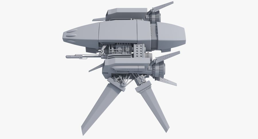 Sci Fi Fighter Spaceship royalty-free 3d model - Preview no. 12