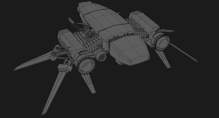 Sci Fi Fighter Spaceship royalty-free 3d model - Preview no. 19
