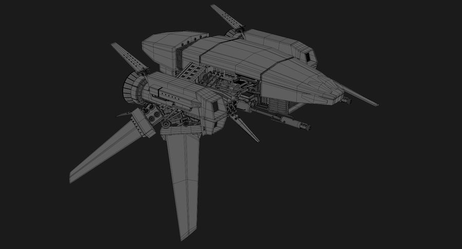 Sci Fi Fighter Spaceship royalty-free 3d model - Preview no. 23