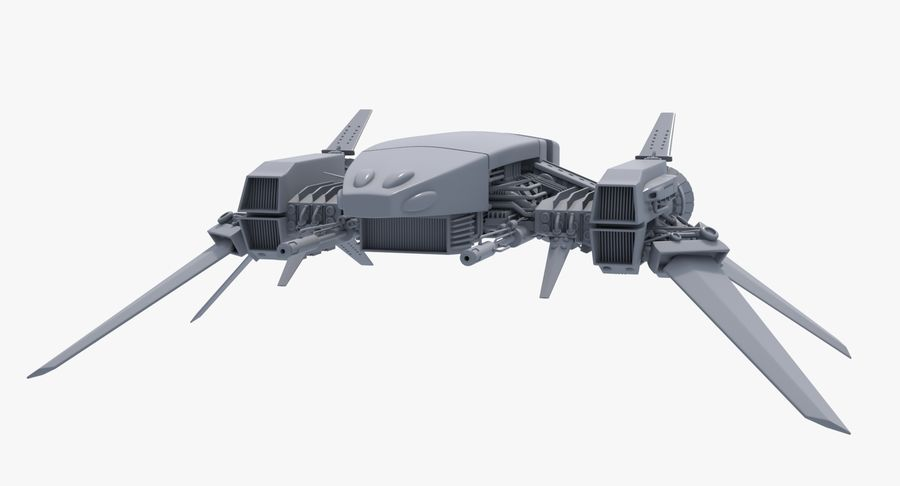 Sci Fi Fighter Spaceship royalty-free 3d model - Preview no. 7