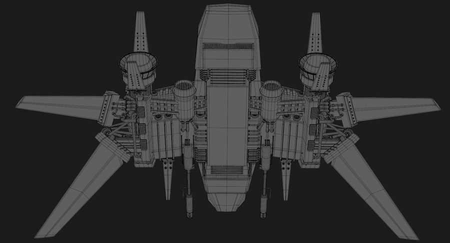 Sci Fi Fighter Spaceship royalty-free 3d model - Preview no. 21