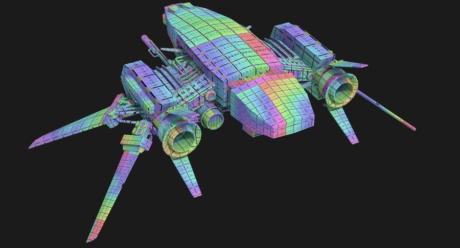 Sci Fi Fighter Spaceship royalty-free 3d model - Preview no. 14