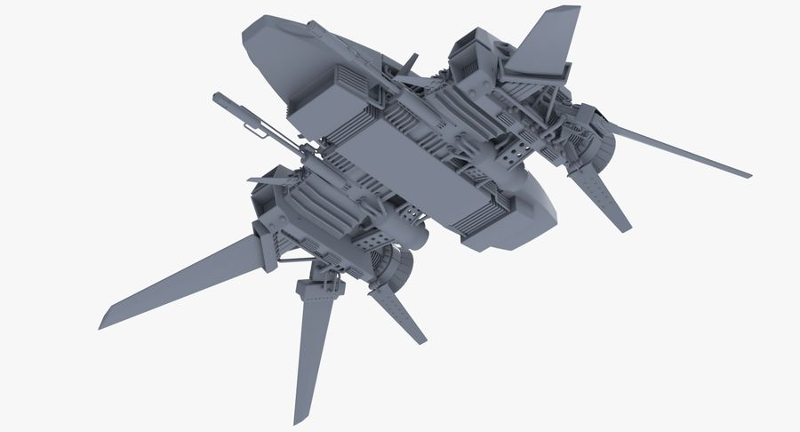 Sci Fi Fighter Spaceship royalty-free 3d model - Preview no. 9