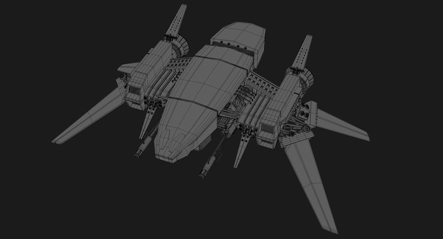 Sci Fi Fighter Spaceship royalty-free 3d model - Preview no. 17