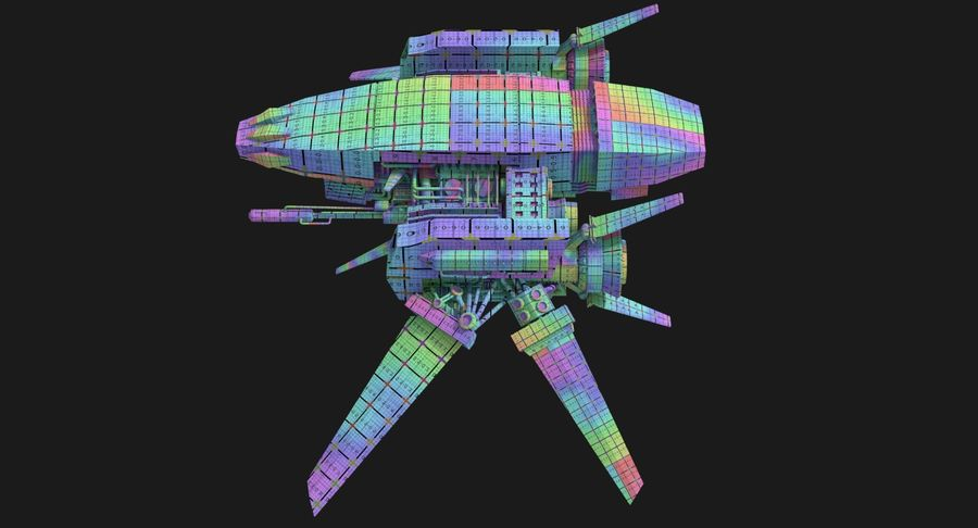 Sci Fi Fighter Spaceship royalty-free 3d model - Preview no. 13