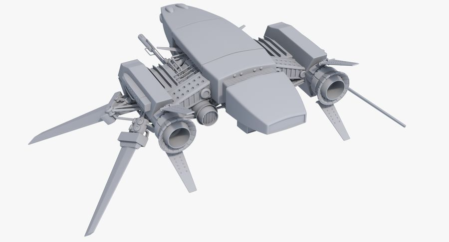 Sci Fi Fighter Spaceship royalty-free 3d model - Preview no. 3