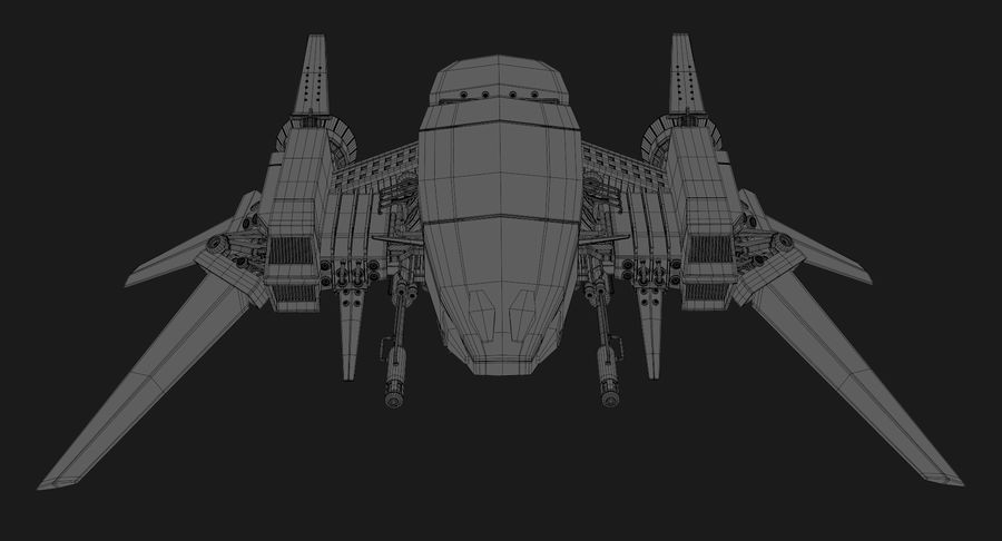 Sci Fi Fighter Spaceship royalty-free 3d model - Preview no. 22