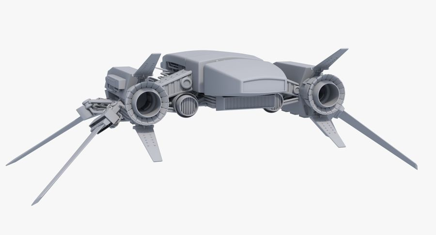 Sci Fi Fighter Spaceship royalty-free 3d model - Preview no. 4