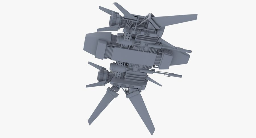 Sci Fi Fighter Spaceship royalty-free 3d model - Preview no. 6