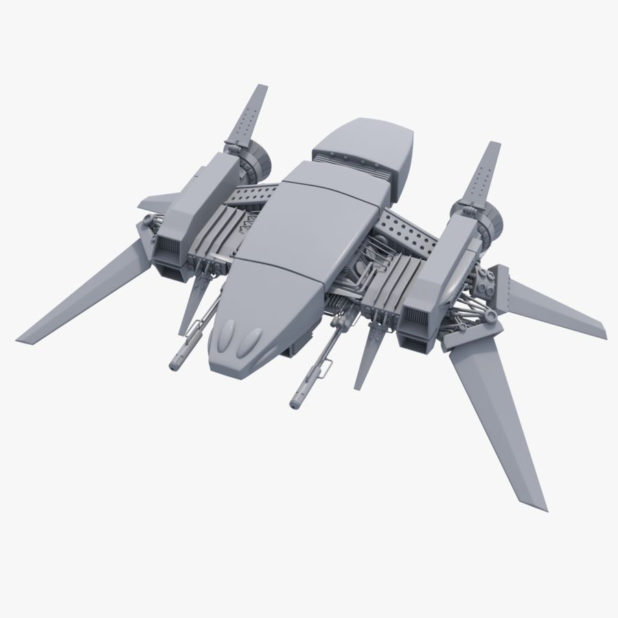 Sci Fi Fighter Spaceship royalty-free 3d model - Preview no. 1