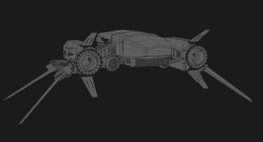 Sci Fi Fighter Spaceship royalty-free 3d model - Preview no. 20