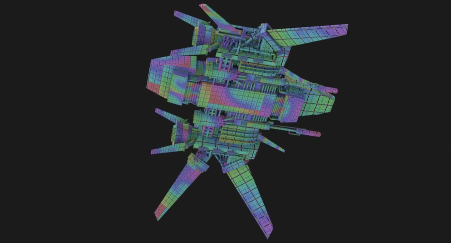 Sci Fi Fighter Spaceship royalty-free 3d model - Preview no. 15