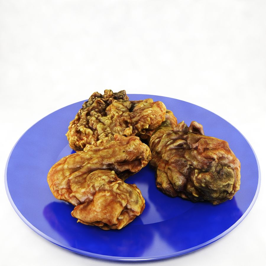 Fried chicken plate royalty-free 3d model - Preview no. 3