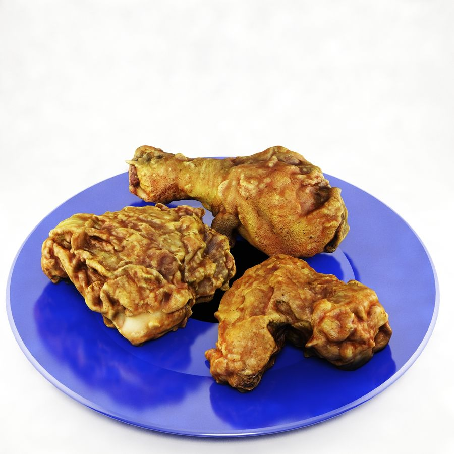 Fried chicken plate royalty-free 3d model - Preview no. 1