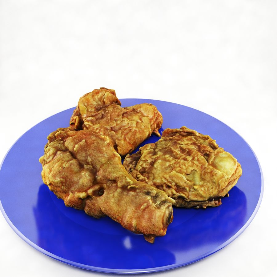 Fried chicken plate royalty-free 3d model - Preview no. 4