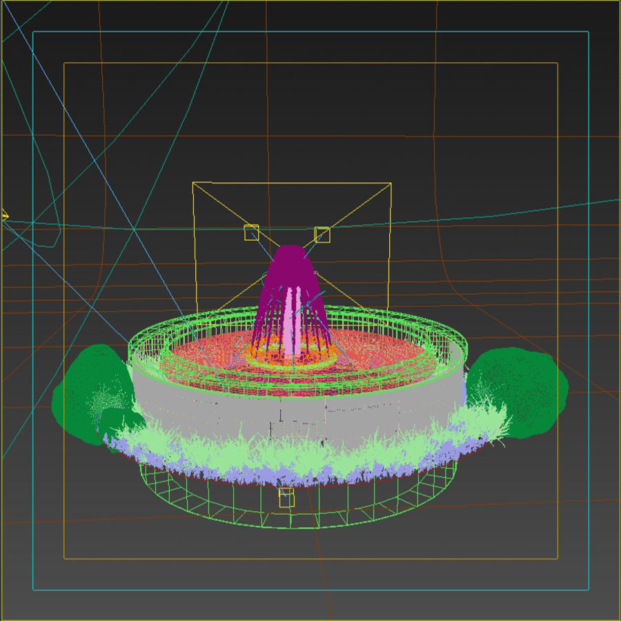 animated garden fountain  model  max fbx freed